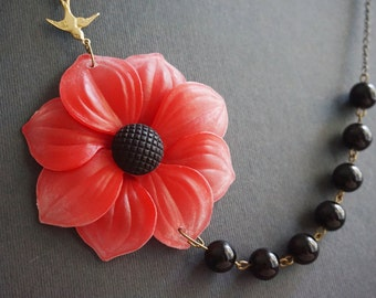 Statement Necklace Poppy Necklace Flower Necklace Black Necklace Black Pearl Necklace Red Necklace Bib Necklace Bridesmaid Gift Gift For Her