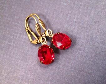 Rhinestone Earrings, Ruby Red Glass Rhinestone and Brass Dangle Earrings, FREE Shipping U.S.