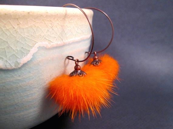 Mink Fur Earrings, Bright Orange and Copper Hoop Earrings, FREE Shipping U.S.