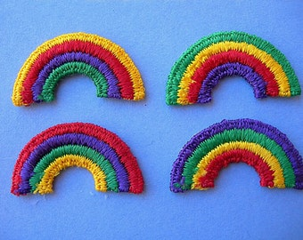 """Vintage RAINBOW Iron-On Sew-on Patches Embroidered 1-1/4"""" x 3/4"""" lot of 4 small NOS"""