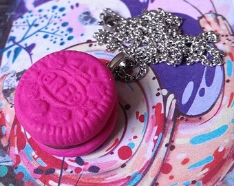 Pink Oreo Cookie Necklace
