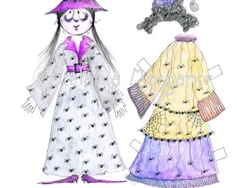 DIY paperdoll Halloween scary gothic-kids to print, cut out and play with,complete with costume ,scrapbooking artwork idea-DIY printable