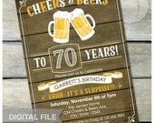 "Surprise 70th Birthday Invitation Cheers & Beers Invite Rustic Wood Country Style - Men Women - 5"" x 7"" Digital Invite"