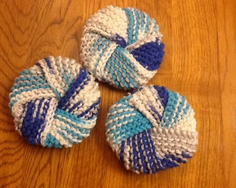 Knitted knot dish scrubbies - choose your color