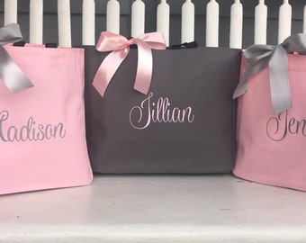 Monogrammed Totes, Set of 3, Embroidered Bridal Party Gifts, Bridesmaid Totes, Embroidered Tote Bags, Pink and Grey Tote bags