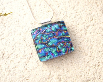 Petite Necklace, Aqua Rainbow Necklace, Dichroic Jewelry, Fused Glass Jewelry, Fused Glass Jewelry, Dichroic Pendant, Necklace, 030216p103