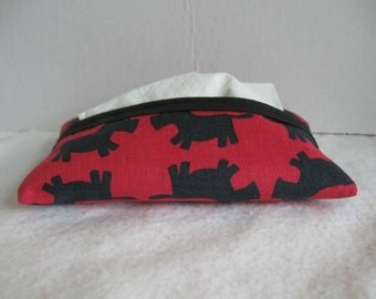 Scottie Dog Tissue Holder - Dogs Pocket Tissue Case - Scottish Terrier Tissue Cozy - Red Black Fabric Purse Tissue Cover