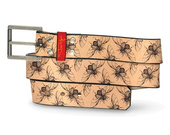 Flying Scarab Tan Leather Belt, Bug Belt, Leather Belt Mummy Egypt Insect