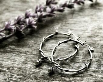 Sterling Silver Hoop Earrings - Small Hoop Earrings - Silver Wire Wrapped Earrings - Nature Inspired Jewelry - Rustic Hoop Earrings - Vined