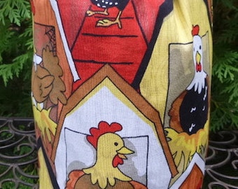 Chicken Drawstring bag, WIP bag, knitting project bag, chicken Coop, Suebee