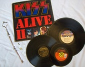 3 Tier Record Album Cupcake Stand - KISS and SKID ROW - Recycled LPs