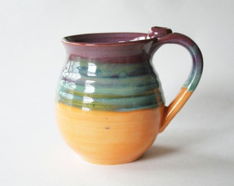 Colorful Mug - glazed in Merlot, Green and Orange - Coffee Cup - 16 oz - Ready to Mail
