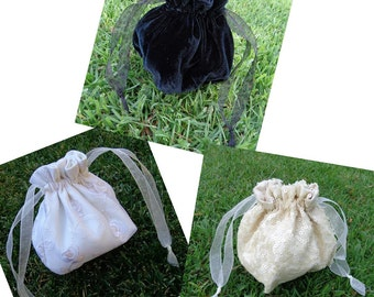 Drawstring Purse or Reticule in Winter White Sequins
