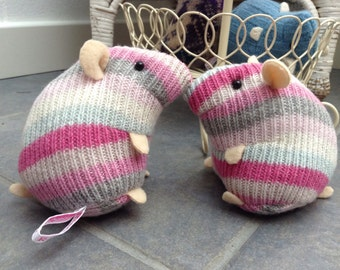 plush woolly hamster made from recycled stripey scarf cute