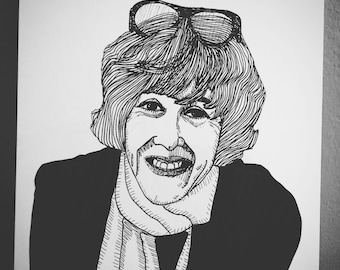 Nora Ephron 6x8 original ink line drawing