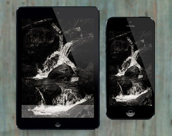 Falling Water: Nature wallpaper & home screen for iPhones, cellphones and smartphones [Instant Download]