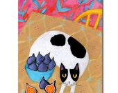ORIGINAL cat folk art painting FIGS with black and white CAT on table by Tascha 8x6 one of a kind