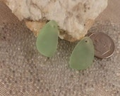 Small Peridot Green Sea Glass Pendants pair 21x13mm teardrop matte frosted cultured drilled SGP-21x13-PERG