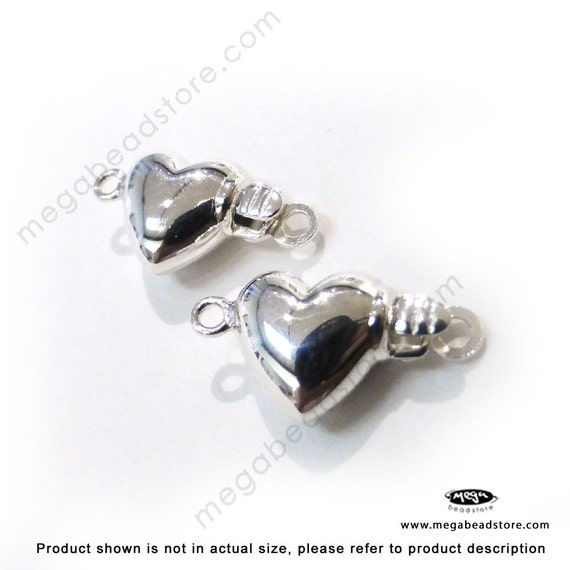 2 pcs 925 Sterling Silver Puff Heart Pearl Clasp F70