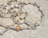 Silver accented Simply Pearls beaded lanyard perfect for your work badge ID card dorm key whatever you need it for