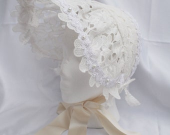 Daisy LACE ILLUSION BONNET Ivory