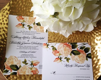 Blush Flora Wedding Collection in Evening Soiree- Invitation Save the Date Ceremony Program Menu Thank You Cards