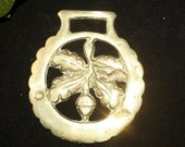 Vintage or Antique Oak Leaf & Acorn Horse Brass - Strength and Courage - Folk Magic, British, Pagan, Wisdom - Rare