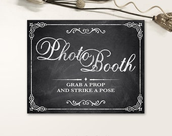 Printable Wedding Signs, Chalkboard Wedding Signs, Photo Booth Wedding Signs PDF, JPG files - Chalkboard