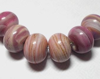 Handmade Lampwork Beads -Pink Striations- by Cheryl's Art