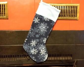 Snowflake Christmas Stocking Light Blue