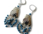 Hammered Silver Earrings, Cascade of Faceted Crystals in Denim Blue, Beaded Jewelry, Beaded Earrings, Industrial, Gift for Her