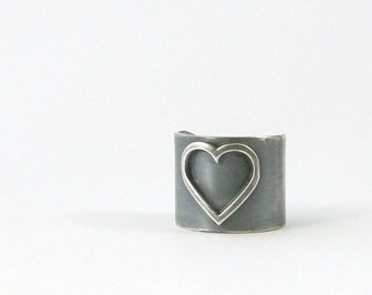Heart Ring, Sterling Silver, Wide Ring Band, Romantic Black Heart Ring, Metalsmith Jewelry, Dark Silver Ring, Wide Boho Ring, Silver Heart