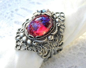 Fire and Ice - Mexican Glass Fire Opal Dragons Breath Fireopal Antiqued Silver Adjustable Ring