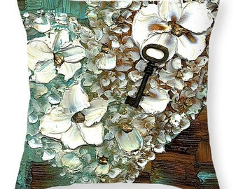 Designer Art Accent Throw Pillow -abstract white floral heart and key print, modern flower design, contemporary home decor ~Susanna's art