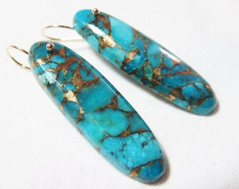 Natural Copper Blue Turquoise Smooth Flat Back Briolettes, and 14K Solid Yellow Gold Earwires