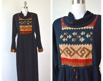 little black hippie hostess dress/ needlepoint boho maxi dress/ s-m