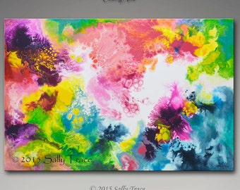 Abstract painting, original painting, acrylic painting, Coming Alive, outer space art, fluid painting, pour painting, cosmic, expressionism