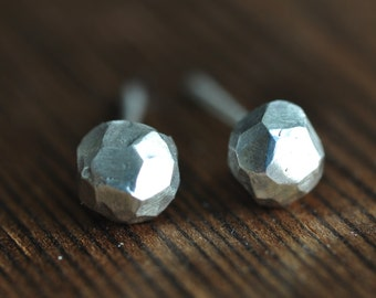 Fake Diamond studs - faceted ball - sterling silver post earrings