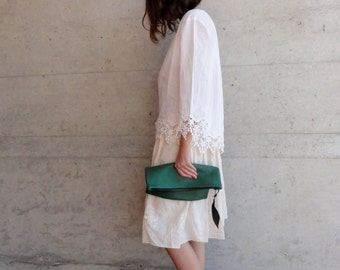 Leather Clutch in Green Italian Leather