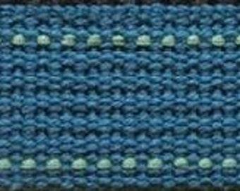 ECHINO Webbing #13 Matte Blue with Sea Foam Green Stitching - 25MM WIDE Trim - Kokka Japanese Imported Etsuko Furuya
