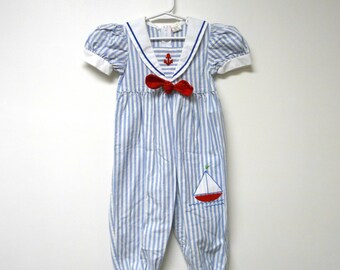 Little Miss Sailor . 80s 90s cotton jumpsuit . size 24 months