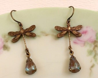 Saphiret Sappharine Glass Dragonfly Earrings with Victorian Tooled Brass