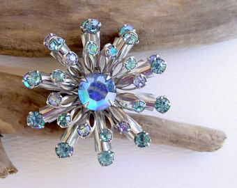 Rhinestone Spray Brooch Pin - Sapphire Blue and Aurora Borealis