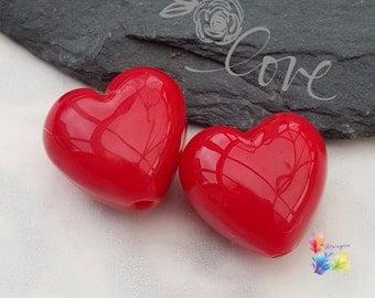 Lampwork Beads Glass Beads Cherry Red Heart Pair Small
