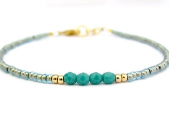 Persian Turquoise Bracelet, Blue Friendship Bracelet, Seed Bead Bracelet, Beaded Bracelet, Friendship Bracelet, Tiny Yoga Zen, Minimal Bride