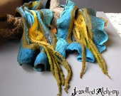 Teal and Lime Felted Wool and Silk Scarf with Fringe