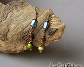 Earrings Czech glass beads and Ocean Jasper with Brass Ear wires