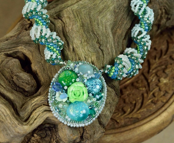 Embroidered Pendant - Green Mermaid Necklace - Boho Lime Necklace - Flower Bud Necklace - Beaded Floral Pendant - Boho Flower Pendant