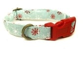 Mint Twinkle - Mint White Red Snowflake Snow Organic Cotton CAT Collar Breakaway Safety - All Antique Brass Hardware