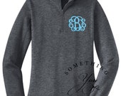 HEATHER GRAY Monogrammed 1/4 Zip Fitted Womens Pullover with flat hemline - Sizes xs to xxl - Personalized bridesmaids shirts, quarterzips